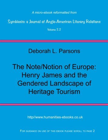 The Note/Notion of Europe - Humanities-Ebooks