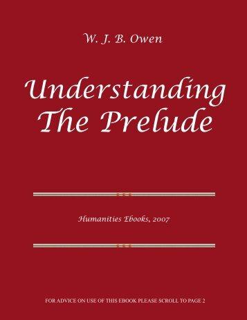 Understanding The Prelude ISBN 978-1-84760-001-1 - Humanities ...