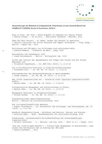 Neuerwerbungen Mai 12 - HUMBOLDT-VIADRINA School of ...