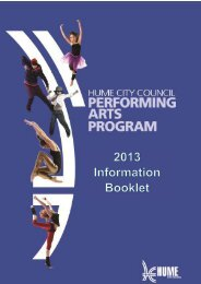 2013 information booklet – performing arts - Hume City Council