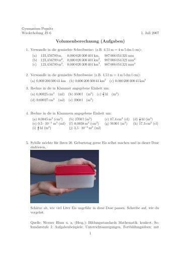 Volumenberechnung (Aufgaben) - Gymnasium Pegnitz