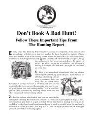 Don't Book A Bad Hunt! - The Hunting Report