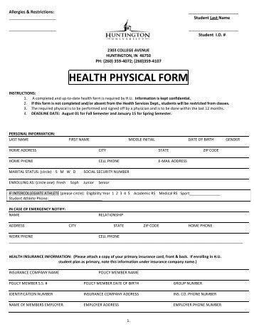 physical examination to
