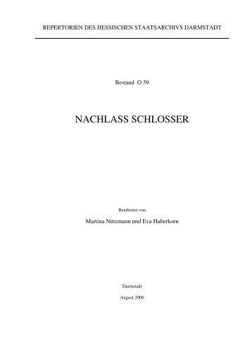 NACHLASS SCHLOSSER - Hessen