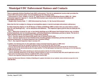 Municipal UDC Enforcement Statuses and Contacts