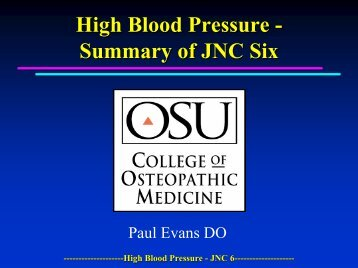 High Blood Pressure - Summary of JNC Six