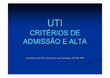 UTI- Critérios de admissão e alta