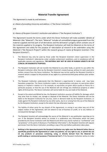 Material Transfer Agreement Mta Osaka University
