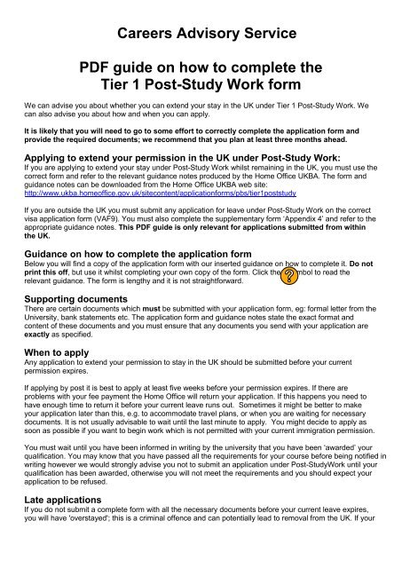 Careers Advisory Service Pdf Guide On How To Complete The Tier 1