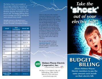 BUDGET BILLING - Holmes-Wayne Electric Cooperative, Inc.