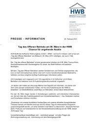 Pressemitteilung Tag des Offenen Betriebs am 06. März in der HWB