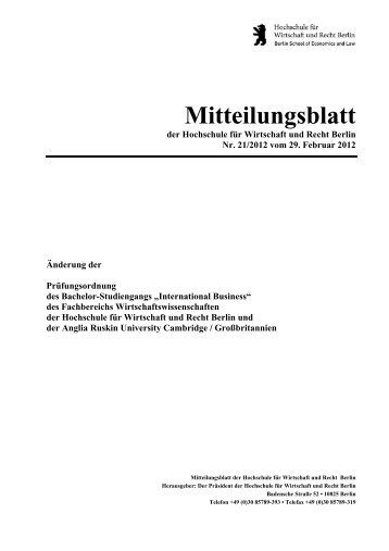 International Business - Hochschule für Wirtschaft und Recht Berlin