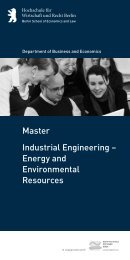 Industrial Engineering – Energy and Environmental Resources Master