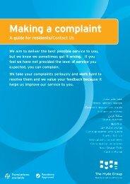 Making a complaint - Hyde Housing Association