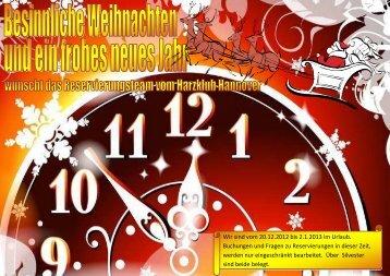Wir sind vom 20.12.2012 bis 2.1.2013 im Urlaub. Buchungen und ...