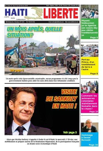 VISITE DE SARKOZY EN HAITI ! - Haiti Liberte