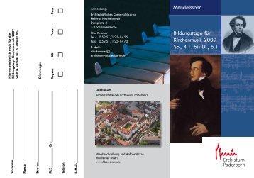 Mendelssohn Bildungstage für Kirchenmusik 2009 So., 4.1. bis Di ...