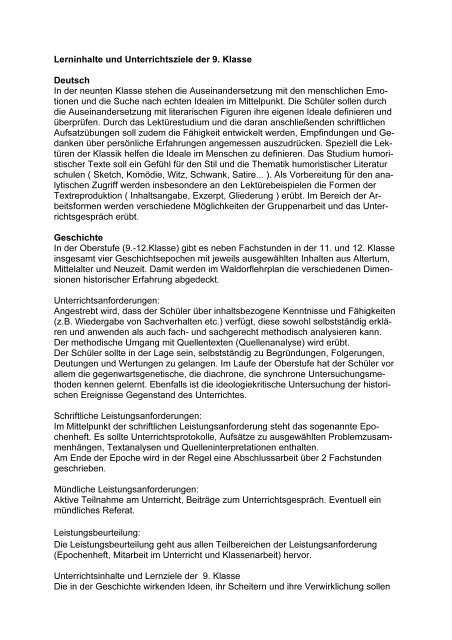 Lerninhalte Und Unterrichtsziele Der 9 Klasse Deutsch In