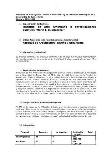 Memoria de Gestión del IAA - Años 2010 / 2011 - Instituto de Arte ...