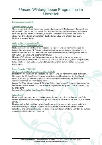 Unsere Wintergruppen Programme im Überblick