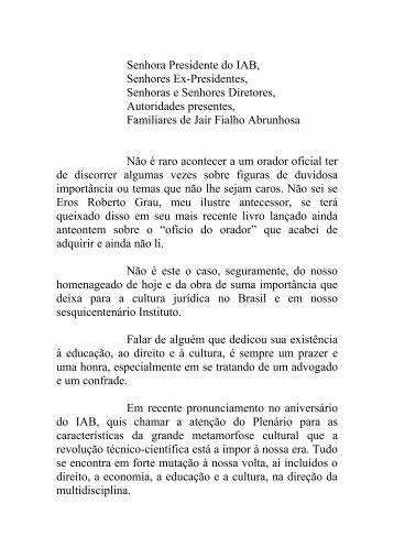 Discurso em homenagem ao Professor Jair Fialho Abrunhosa
