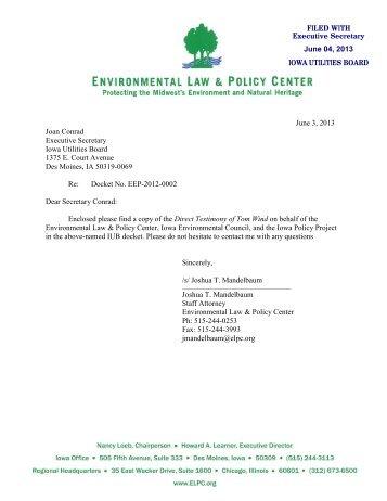 Testimony of Tom Wind, Wind Energy Consulting, PC, Jamaica, Iowa