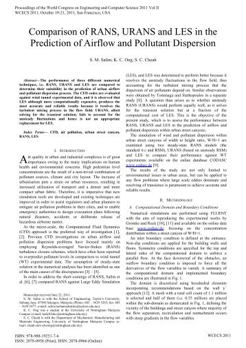 Comparison of RANS, URANS and LES in the - International ...