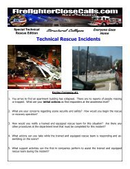 Technical Rescue Incidents Scenarios