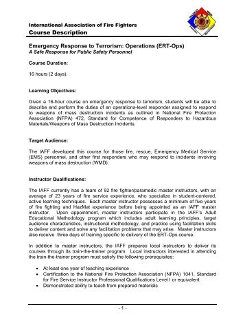 Course Description Emergency Response to Terrorism ... - IAFF