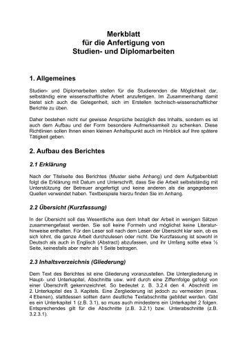 Gestaltung Von Projekt Studien Und Diplomarbeiten Einleitung
