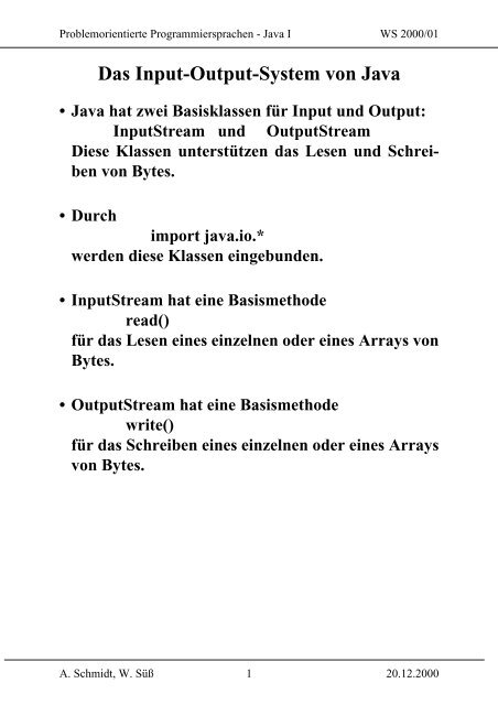 Das Input-Output-System von Java