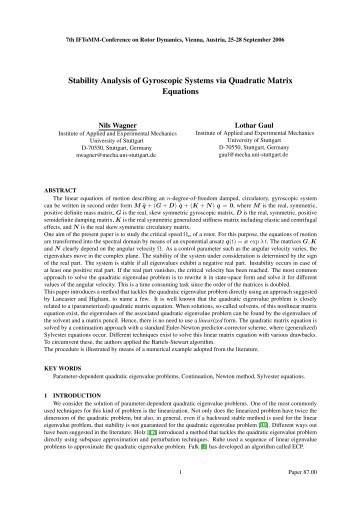 Stability Analysis of Gyroscopic Systems via Quadratic Matrix ...