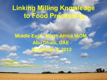 Linking Milling Knowledge to Food Processing