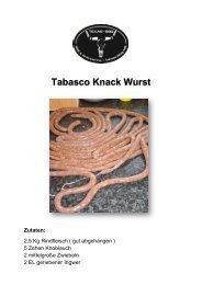 Tabasco Knack Wurst Zutaten