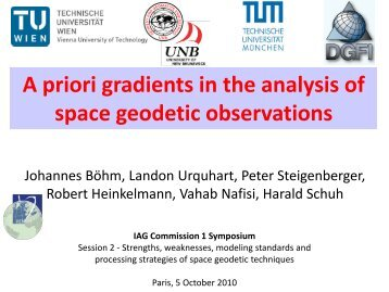 A priori gradients in the analysis of space geodetic observations