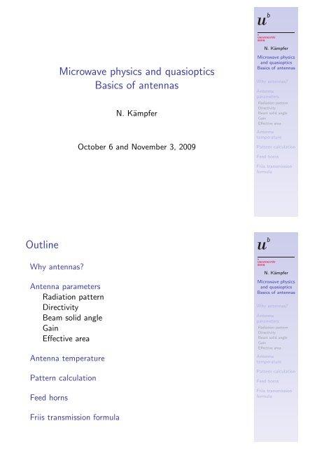 Microwave physics and quasioptics Basics of antennas - IAP
