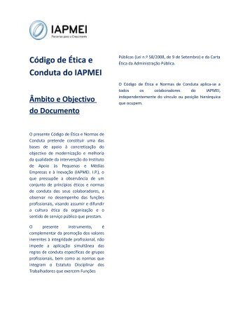 Código de Ética e Normas de Conduta (PDF) - Iapmei