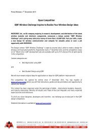 Open Competition IQRF Wireless Challenge Inspires to ... - iaria