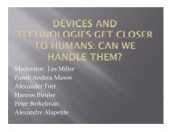 Devices and Technologies Get Closer to Humans - iaria