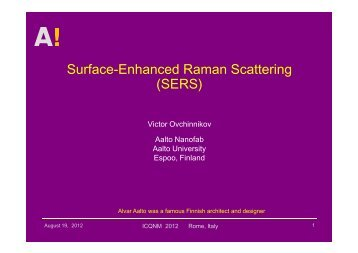Surface-Enhanced Raman Scattering (SERS) - iaria