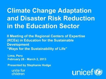 Climate Change Adaptation and Disaster Risk Reduction ... - UNU-IAS