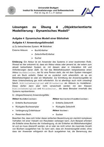 Objektorientierte Modellierung - Dynamisches Modell - Institut für ...