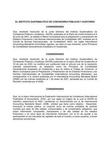 EL INSTITUTO GUATEMALTECO DE CONTADORES ... - IAS Plus