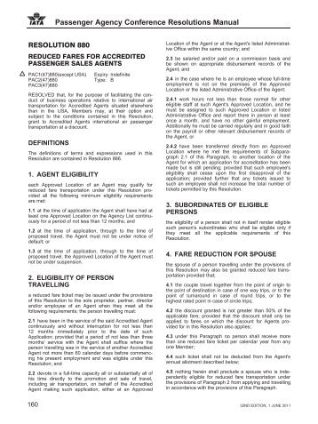 Passenger Agency Conference Resolutions Manual - IATA