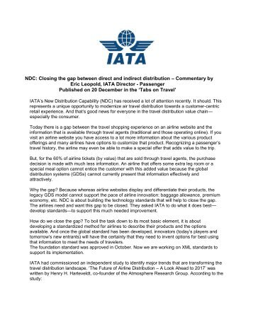 Commentary published in Tabs on Travel - IATA