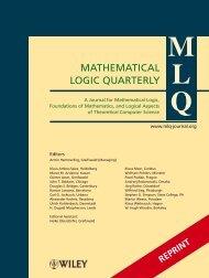 MATHEMATICAL LOGIC QUARTERLY - Leibniz Universität Hannover