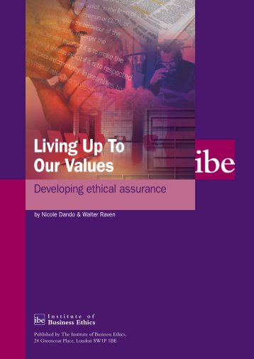 Living Up to Our Values - Institute of Business Ethics