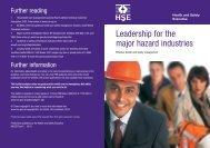 Leadership for the major hazard industries - effective health ... - HSE