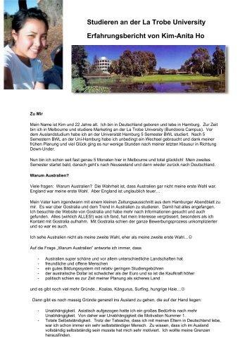 Studieren an der La Trobe University Erfahrungsbericht ... - GOstralia