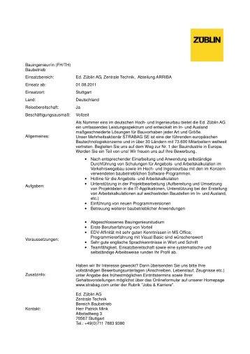 Ed. Züblin AG, Zentrale Technik, Abteilung ARRIBA Einsatz ab